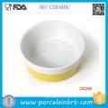 Venta al por mayor Yellow Bar Round Shape Porcelain Pet Bowl