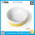 Wholesale Yellow Bar Round Shape Porcelain Pet Bowl