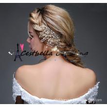 2016 New design handmade golden pearl alloy headpiece wedding bridal hair pins hair accessories