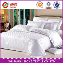 Venda quente impressa 100% tecido de linho tira de cetim / branco quatro conjuntos de cama Bom preço Hotel Beddings, 100% algodão 40 s 250tc cetim