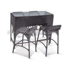 Único Bar Rattan conjunto mesas móveis