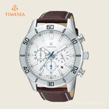 Reloj de pulsera de cuarzo con cronógrafo de cuero marrón para hombre