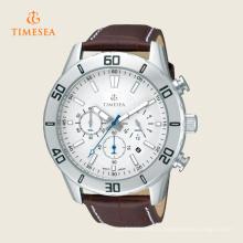 Relógio de pulseira de couro de quartzo de cronógrafo de quartzo de Mens
