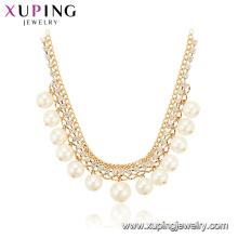 44258 Atacado mulheres extravagantes jóias estilo elegante design simples banhado a ouro colar de pérolas de cobre