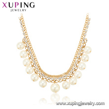44258 Оптовая модные ювелирные изделия женщины элегантный стиль простой дизайн позолоченные медь жемчужное ожерелье
