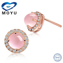 2015 joyería de la manera 925 pendientes de plata del diseñador de la piedra preciosa pendiente de la piedra preciosa del cuarzo color de rosa