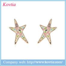 Custom Star Stud Earring Top Design Boucles d'oreilles à crémaillère, fantaisie, design, or, boucle d'oreille