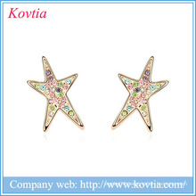Custom Star stud earring top design earring jewelry fancy design gold earring