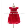 Abend Puffy Kleid mit Strass Perle Infant Spitze Blume Knie Kleid 3M 6M 12M Baby Mädchen Kleid in roter Farbe für Party