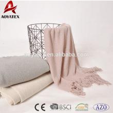 100% acrílico malha cobertor borla sólida com lantejoulas