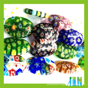 murano oval millefiori glass beads with hole hot selling