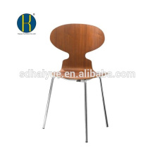 2017 Restaurant Furniture Type walnut wooden dinning chair with backrest and chrome legs