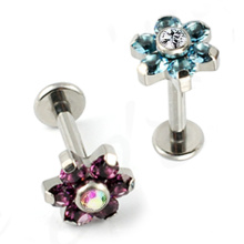 Titanium Kubikzircon Blume Körper Piercing Schmuck Lip Ring Labret