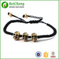 High Quality Men Northskull Jewelry Gold Stainless Steel Skull Rope Weaving Bracelet Bangles