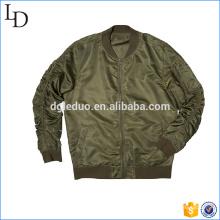 Náilon plain top design do time do colégio jaqueta homens bombardeiro atacado na China