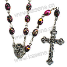 Heißer Verkauf 6 * 8mm buntes ovales Glasfaux-Perlen-Korn Rosario, nette Rosenkranz-Halskette