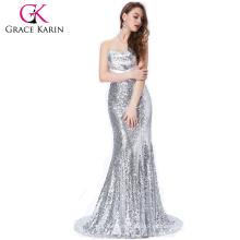 Grace Karin Strapless Cuello Corto Longitud de las mujeres de seda de la Ocasión Especial Vestidos de baile de compromiso de plata CL4409-4