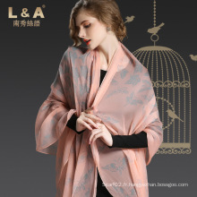 Écharpe réelle en soie Crepe Georgette Écharpe imprimée Madame Pink Butterfly Sp21-3