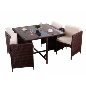 5pc rattan sapce-saving cube table