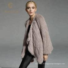 Bon prix femmes hiver réel rex manteau de fourrure de lapin