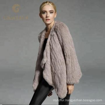 Good price women winter real rex rabbit fur coat