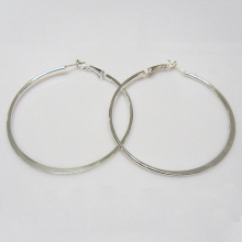 Fashion bigger size round shape metal hoop earrings in silver color, 6cm in diameter, rhodium plate,wholesale jewelry for woman
