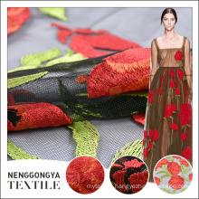 Professional polyester net design red rose floral dress embroidery fabric