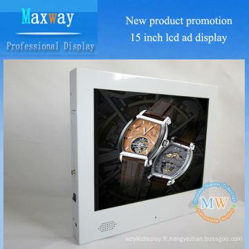 Mode blanc 15 pouces 4: 3 écran d'affichage de la publicité