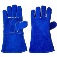Royal Blue Cow Split Leather Working Gloves Welding Glove