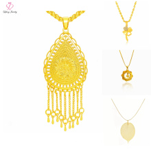Latest Design Saudi Dubai 24K Gold Jewelry Necklace, Simple Charm Pendant 24k Gold Necklace Design