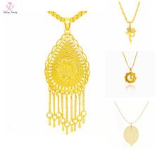 Последние дизайн Саудовская Дубай 24k Золотые ювелирные изделия ожерелье, простой, Кулон 24k золото дизайн ожерелье