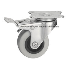 Stainless Steel Light Duty Brake Castor, TPR Wheel