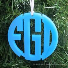 Acrílico acrílico do monograma do ornamento do Natal do círculo da cor