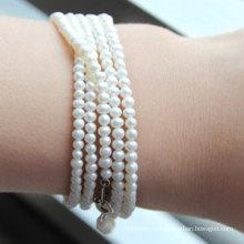 Bracelet perle d'eau douce cultivé naturel de pommes de terre de 2-3 mm (E150032)
