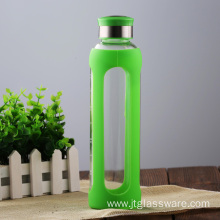 Silicone Sleeve가있는 Borosilicate Glass Water Bottle
