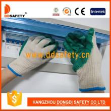 Guante de trabajo revestido de la seguridad del látex del algodón verde de la naturaleza Dkl314