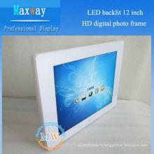 Cadre photo numérique rétro-éclairé de 12 pouces HD