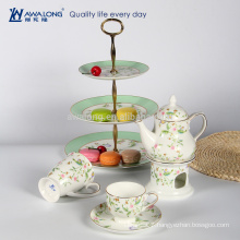 Natural Style Flower Painting Bone China Tea Set, Tea Table And Chairs Set