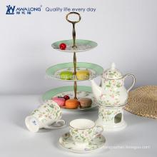 Набор из натурального цветка с цветочным рисунком Bone China Tea Set, Набор для чая и стульев