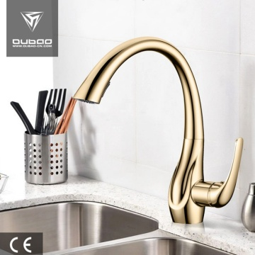 Plated Gold Single Handle Kitchen Faucet With Sprayer