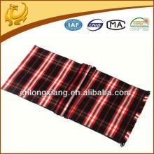 Tecido longo preto e vermelho 100% seda lenço de xadrez para homens