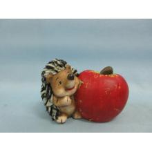Apple Hedgehog forma de artesanía de cerámica (LOE2536-C9.5)