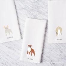 Haute qualité impression chiot chien blanc plat carré cuisine torchon TT-014