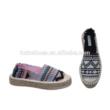 New design summer espadrille shoes women canvas casual shoes with thick sole