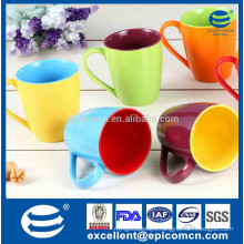 Manufacture of porcelain mugs double colorful mugs, double color glazed ceramic solid color porcelain mug