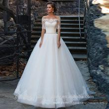 2017 Off The Shoulder Chapel Train Application Pearls Robe de mariage Vestido White Half Sleeve Wedding Dress WW1411