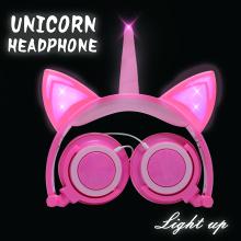 Meninas Twinkle Unicorn Cat Ears Headphones Luz LED