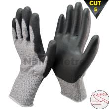 NMSAFETY calibre 13 de fibra de vidrio nivel 5 resistente a los cortes corte guante evitar pu guante