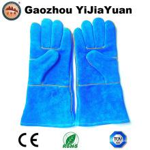 Cuero de vaca azul Split cuero industrial mano seguridad soldadura guantes de trabajo