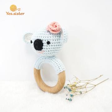 Crochet madeira de faia Koala mordedor brinquedos do bebê